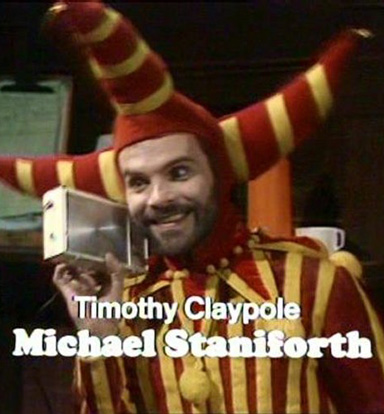Mr Claypole is his weird jesters outfit