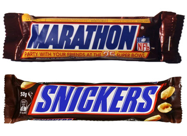 A Marathon bar and a (spit) Snickers