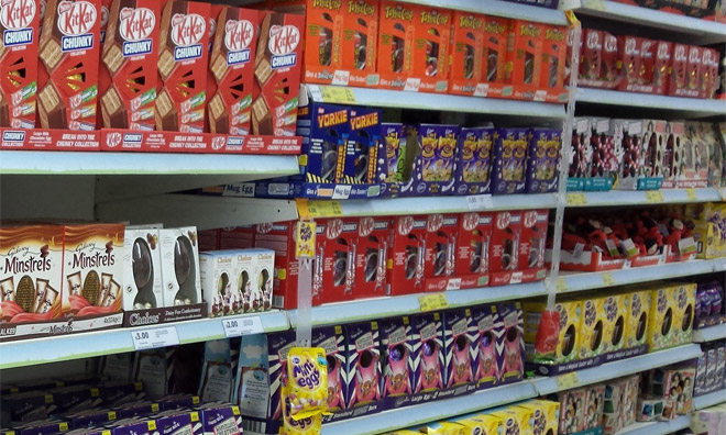 A supermarket shelf full of easter eggs