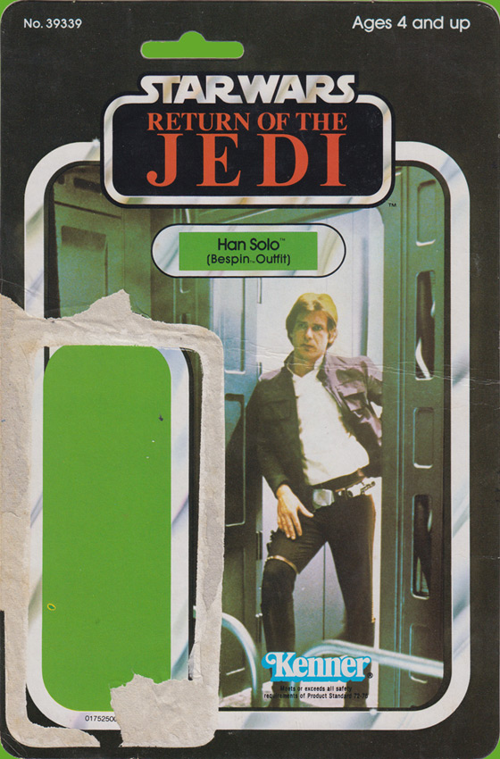 Han Solo vintage Star Wars action figure card back