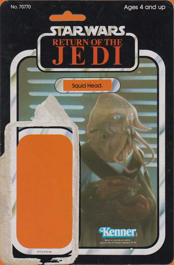 Squid Head vintage Return of the Jedi action figure card back